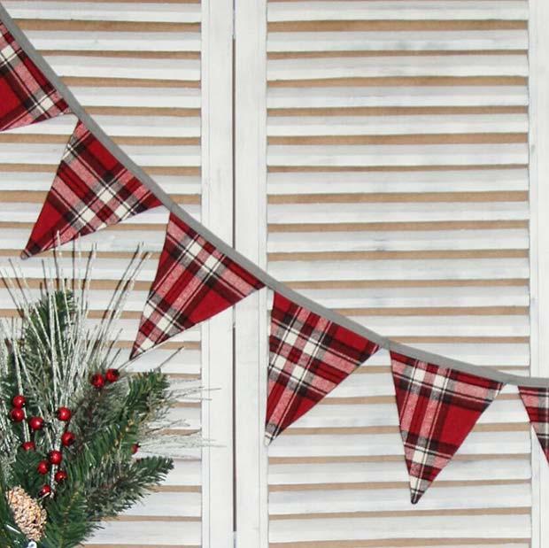Plaid Bunting for Farmhouse Inspired Christmas Decor