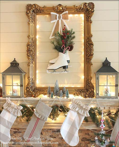 Ice Skate Christmas Mantel for Farmhouse Inspired Christmas Decor