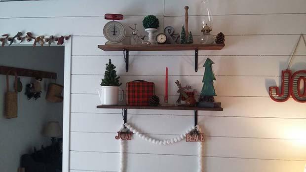 Rustic Farmhouse Style Christmas Shelves for Farmhouse Inspired Christmas Decor