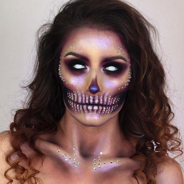 Glam Spooky Skeleton for Mind-Blowing Halloween Makeup Look