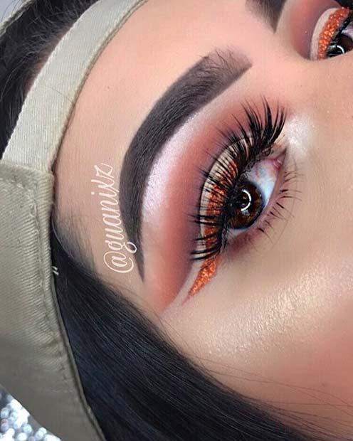 Orange Glitter Eye Liner Look for Makeup Ideas for Thanksgiving Dinner