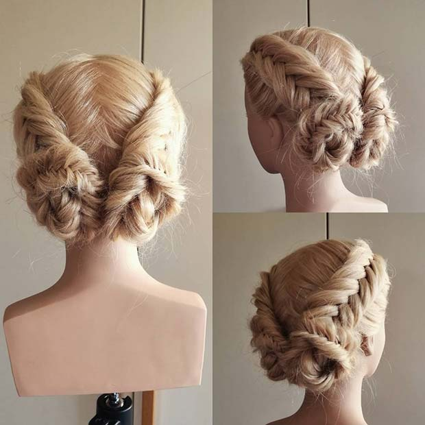 Double Boxer Braid Buns for Beautiful Braided Updos