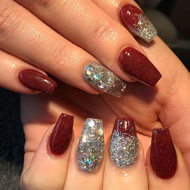 Red and Silver Glitter Nail Designs for Winter Nail Ideas - 23 Nail Design Ideas Perfect For Winter StayGlam