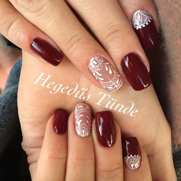 Winter Lace Nails For Nail Ideas