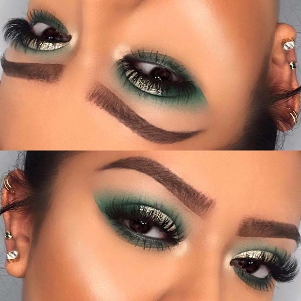 Green and Glitter Makeup for Makeup Ideas for Thanksgiving Dinner