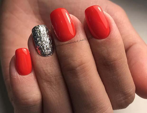 Glitter and Vibrant Color Design for Winter Nail Ideas