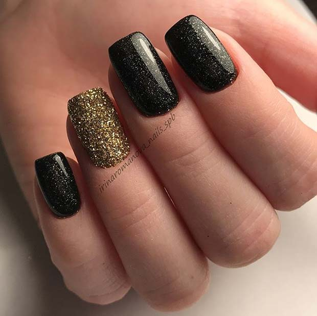 Black and Gold Nails for Winter Nail Ideas
