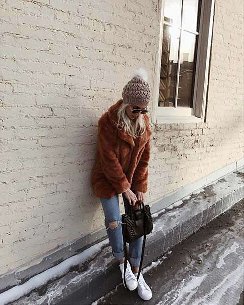 Warm Brown Faux Fur Coat for Cute Outfits to Copy This Winter