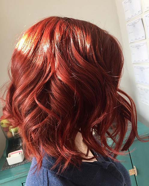 Vibrant Autumnal Red Lob for Lob Hairstyles for Fall and Winter
