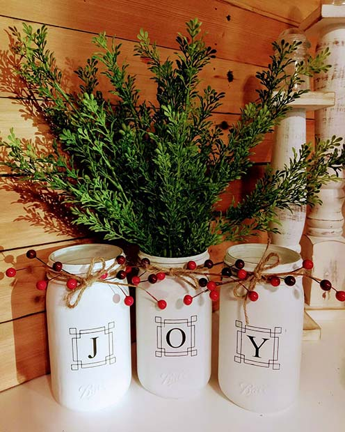 Joy Vases for Farmhouse Inspired Christmas Decor