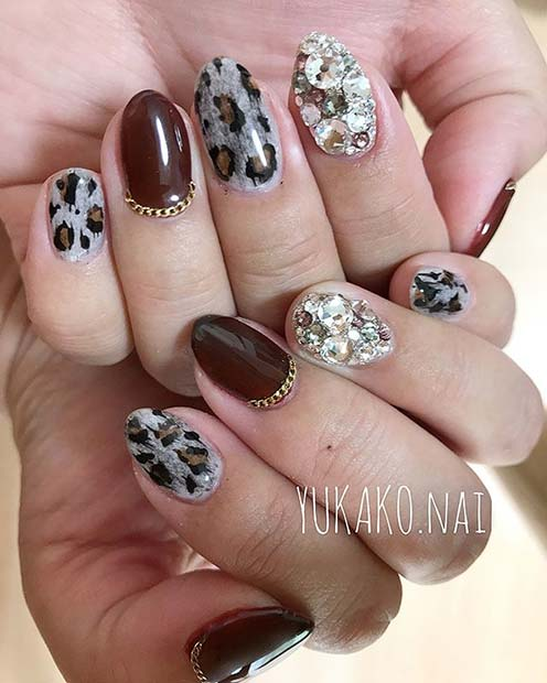Leopard Print and Gem Nails for Winter Nail Ideas