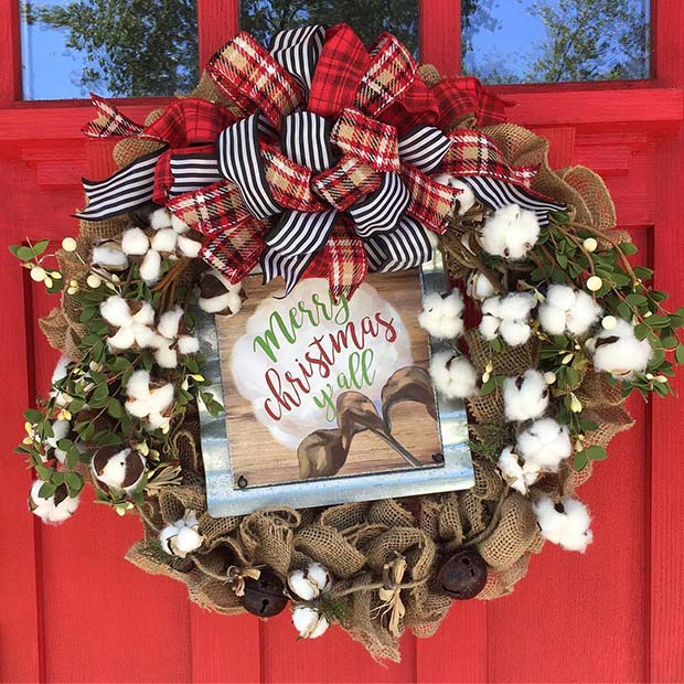 Cotton Christmas Wreath for Farmhouse Inspired Christmas Decor