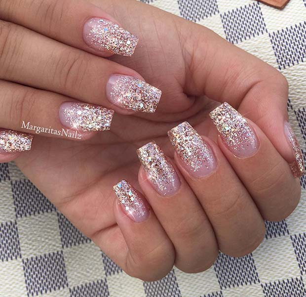 Rose Gold Glitter Nails for Winter Nail Ideas