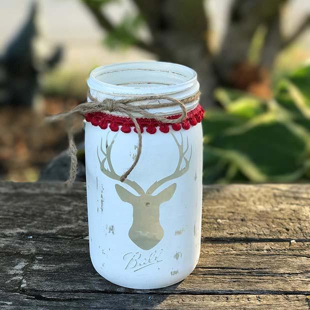 Elk Head Mason Jars for Farmhouse Inspired Christmas Decor