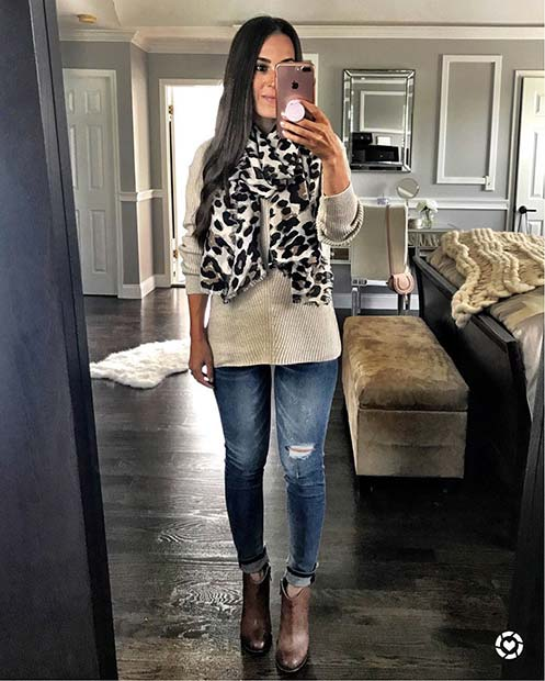 Leopard Print Scarf for Cute Outfits to Copy This Winter