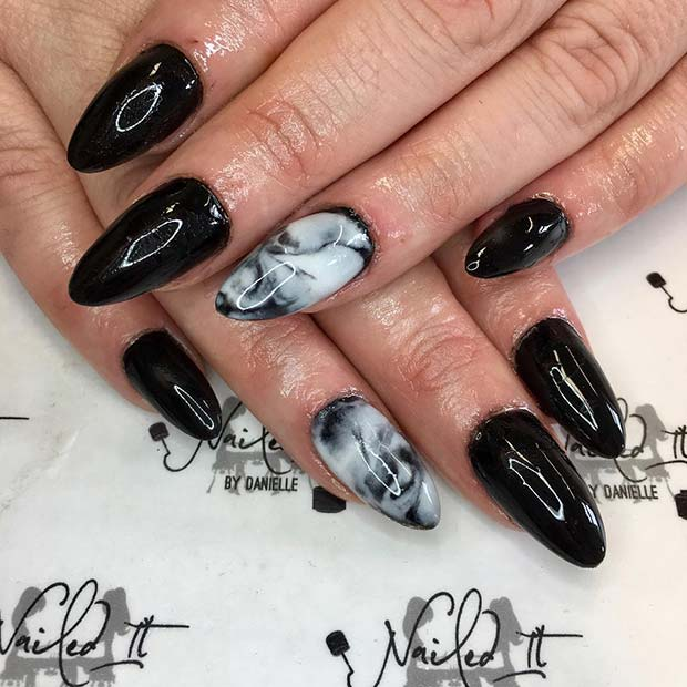 Black and White Marble Nails for Winter Nail Ideas