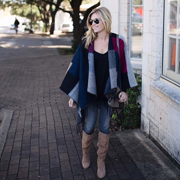 Stylish Winter Scarf Cape for Cute Outfits to Copy This Winter