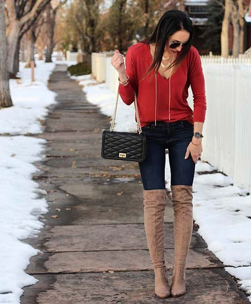 Trendy Red Top and Jeans for Cute Outfits to Copy This Winter