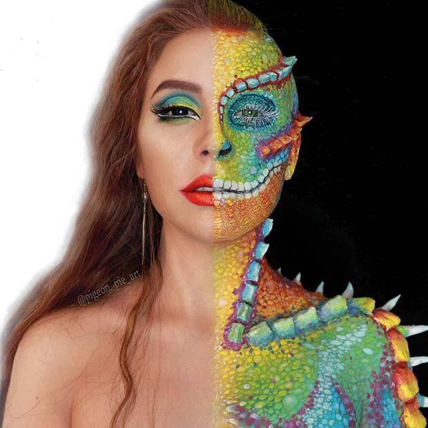 Creative Chameleon Makeup for Mind-Blowing Halloween Makeup Looks