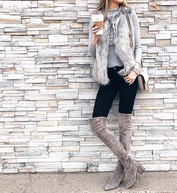 Chic Fur Gilet and Long Boots for Cute Outfits to Copy This Winter