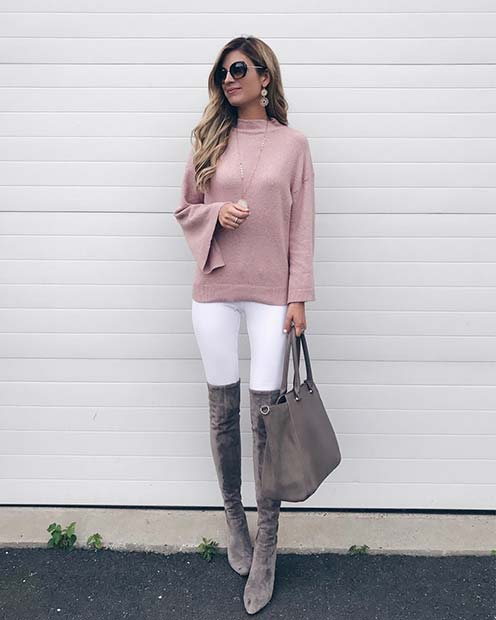 Pink Sweater and White Jeans for Cute Outfits to Copy This Winter