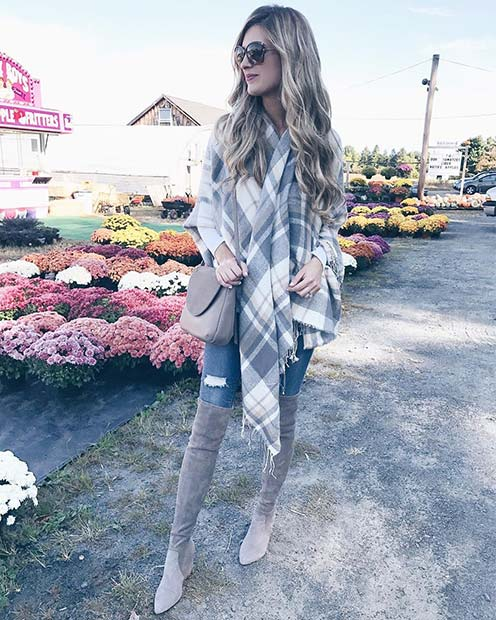 Grey Tone Scarf, Bag and Boots for Cute Outfits to Copy This Winter