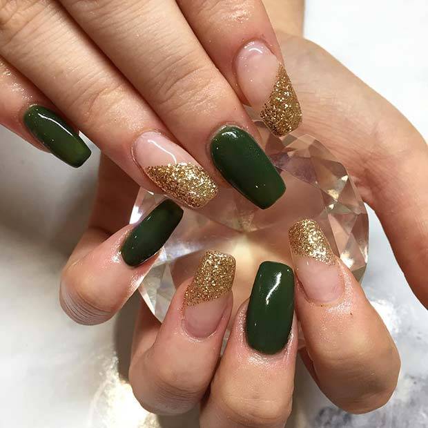 Winter Green and Gold Glitter Nails for Winter Nail Ideas