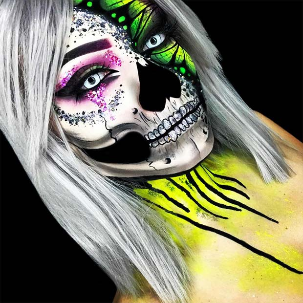 Toxic Butterfly Skull for Mind-Blowing Halloween Makeup Looks