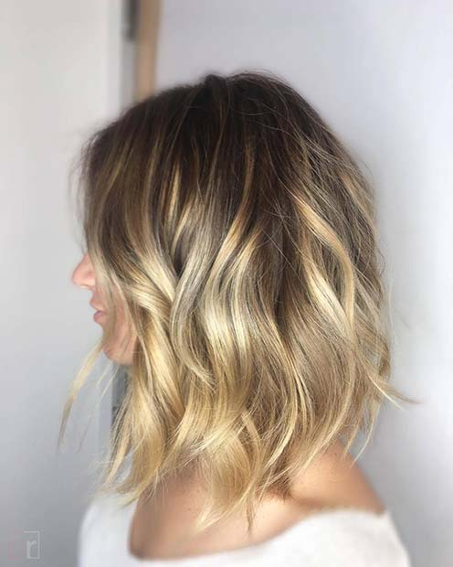 Sun Kissed Balayage for Lob Hairstyles for Fall and Winter