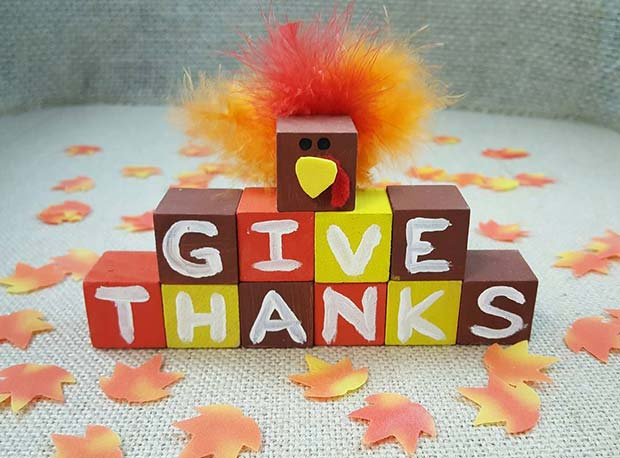 Cute Thanksgiving Block Craft for Thanksgiving Crafts