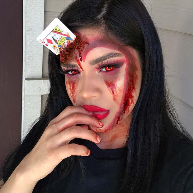 Gruesome Card Makeup for Best Halloween Makeup Ideas
