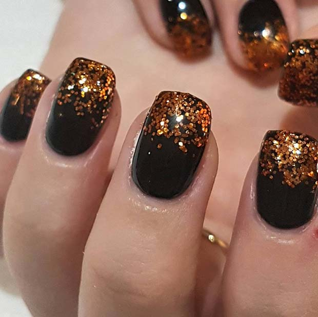 Black and Orange Glitter Nails for Winter Nail Ideas