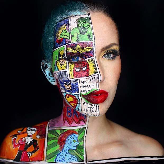 Comic Strip Makeup for Mind-Blowing Halloween Makeup Looks