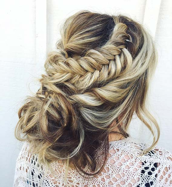 Loose Updo with Fishtail Braid for Beautiful Braided Updos