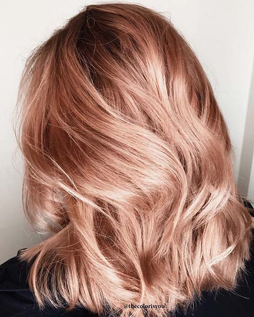 Metallic Rose Gold Lob for Lob Hairstyles for Fall and Winter