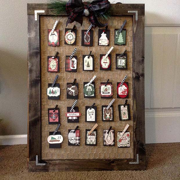 Rustic Advent Calendar for Farmhouse Inspired Christmas Decor