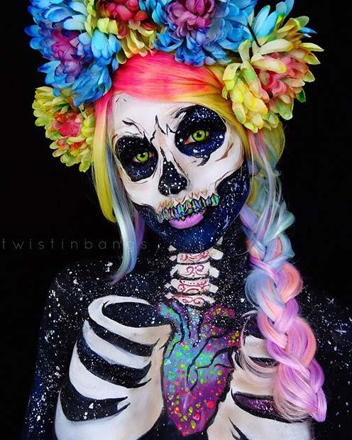 Vibrant Skeleton Makeup for Mind-Blowing Halloween Makeup Looks