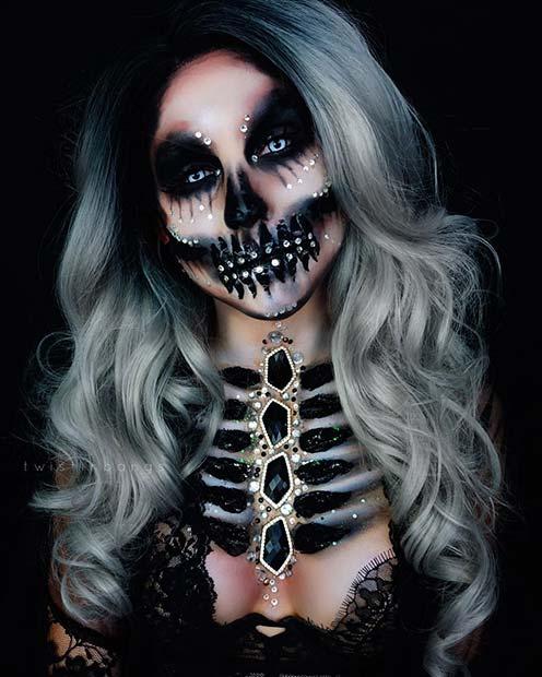 Bejeweled Skeleton for Mind-Blowing Halloween Makeup Looks