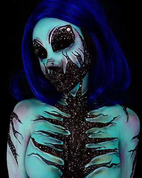 Alien Galaxy Design for Mind-Blowing Halloween Makeup Looks