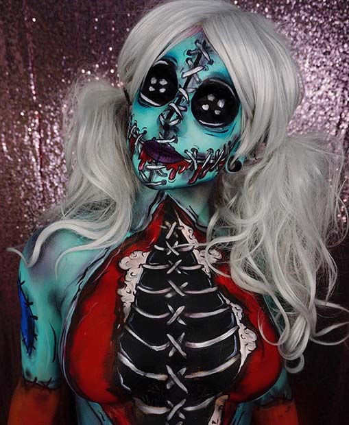 Doll with Stitches for Mind-Blowing Halloween Makeup Looks