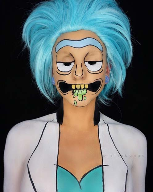 rick from rick and morty for unique halloween makeup ideas to try