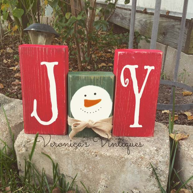 Joy Block Decoration for Farmhouse Inspired Christmas Decor