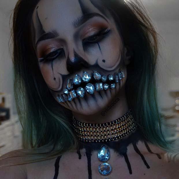Crystal Skull Clown for Best Halloween Makeup Ideas