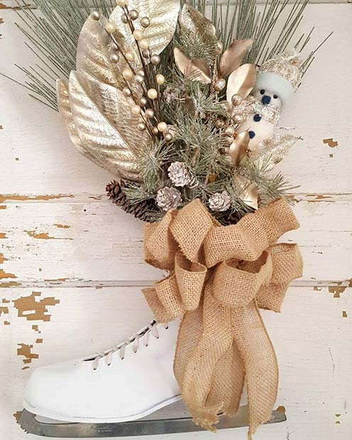 Ice Skate Door Wreath for Farmhouse Inspired Christmas Decor