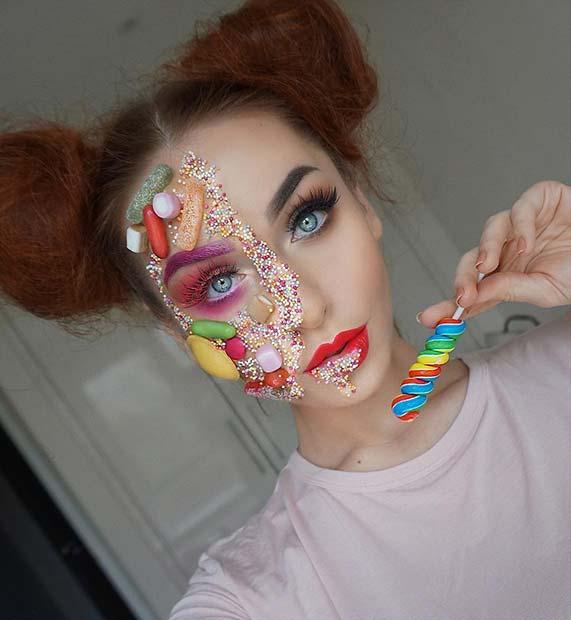 Creative Candy Makeup for Best Halloween Makeup Ideas