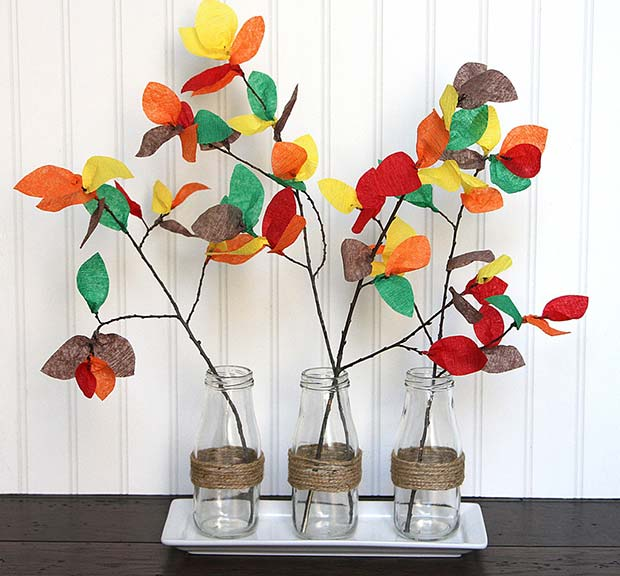 Fall Branch Decoration for Simple and Creative Thanksgiving Decorations