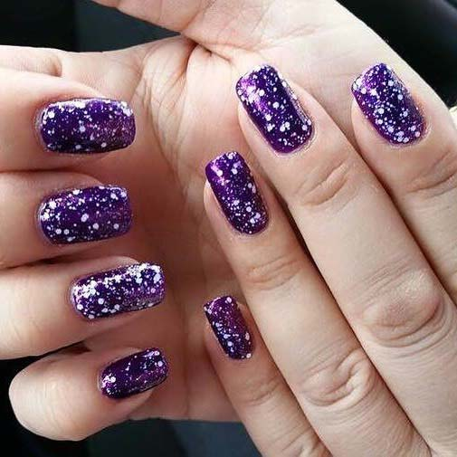 Purple and White Splat Design for Winter Nail Ideas