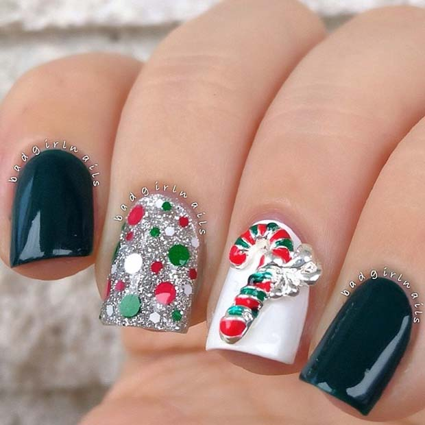 3D Candy Cane Christmas Nails