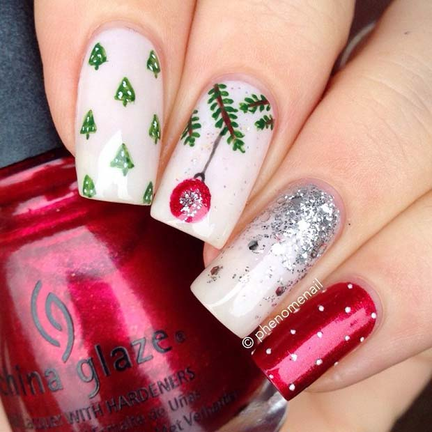 Bauble and Trees Christmas Nails