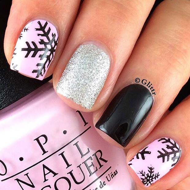 Pink Black and Glitter Snowflake Winter Nails